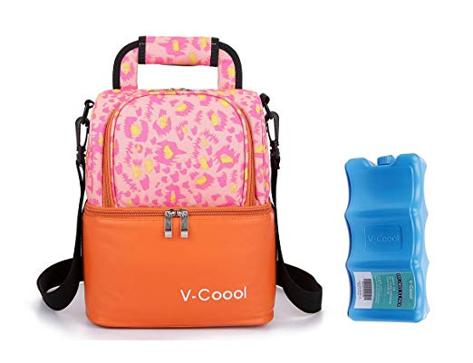 Breastmilk Cooler with 1pcs Ice Pack Backpack Handbag for Daycare Lunch Picnic Travel,Thicken Insulated Double-layer Waterproof,Keep 6 Breastmilk 5oz Bottles or Food Fresh,Orange
