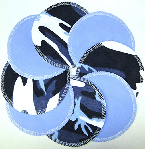 NuAngel Designer Washable Nursing Pads 100% Cotton - Blue & Blue Camo - Made in U.S.A.