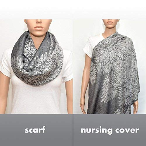 Nursing Cover,Nursing Infinity Scarf, Breastfeeding Cover (Floral Gray)