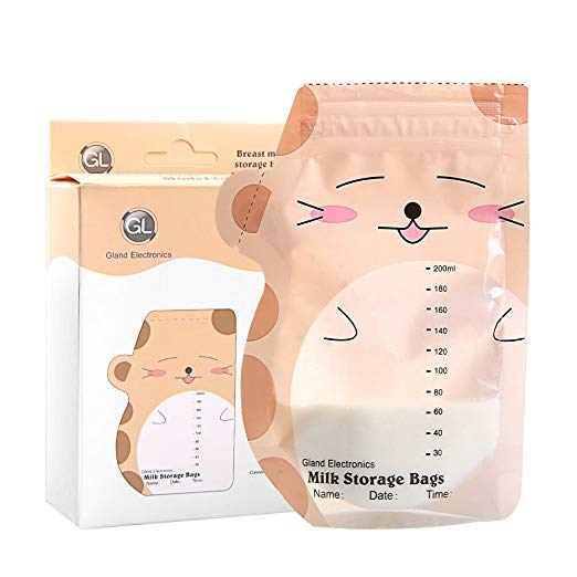 Gland Breast Milk Storage Bags 60 Count 200ml Breastfeeding Bags Pre Sterilized & BPA Free with Accurate Measurements & Leak Proof Best for Fridge & Freezer Containers.
