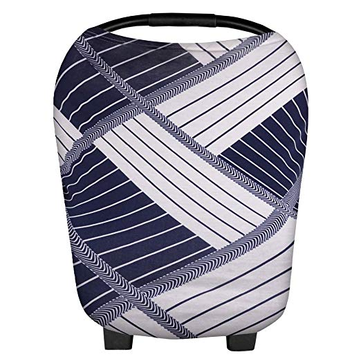 Nursing Cover, Breastfeeding Cover, High Chair Cover, Stroller and Carseat Covers, Shopping Cart Hammock for Baby, a Scarf and Shawl for mom, Multi Use Breastfeeding Cover Up, Stripe Pattern