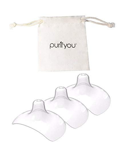 purifyou Premium Nipple Shield, Set of 3 with Soft Cotton Reusable Drawstring Bag - Non-Toxic, BPA and BPS Free