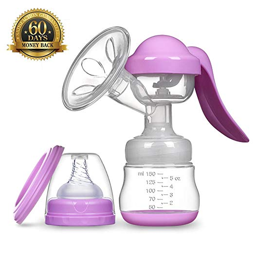 Breastfeeding Manual Breast Pumps Milk Suction with Protective Lid Silicone Portable Hands-Free Design Ideal for Travel (Purple)