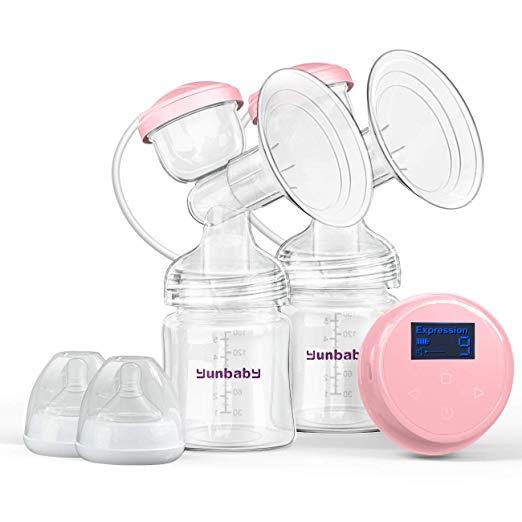 DoubleElectricBreastPump,ComfortBreastfeedingBreastPumpMilkStorageBottle,9AdjustableSuctionLevelswith3Modes,RechargeableBatteryUSBChargingVoiceGuide,BPAFree (Light Pink)