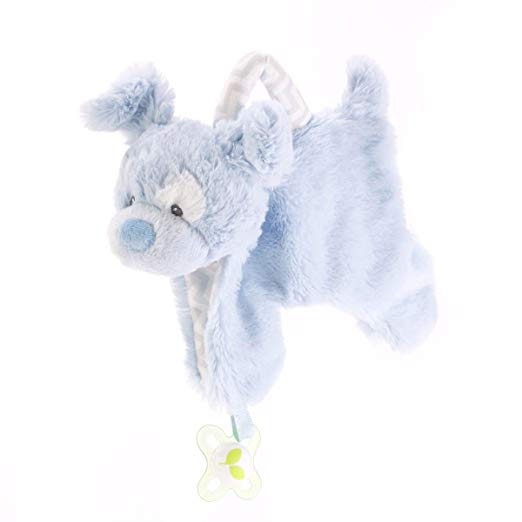 DEMDACO Plush Pacifier Holder Blankie, Blue Dog