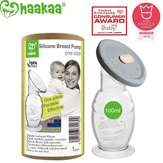 Haakaa Breastpump with Suction Base and Upgrade Silicone Lip 100% Food Grade Silicone BPA PVC and Phthalate Free (4oz/100ml with Lip)
