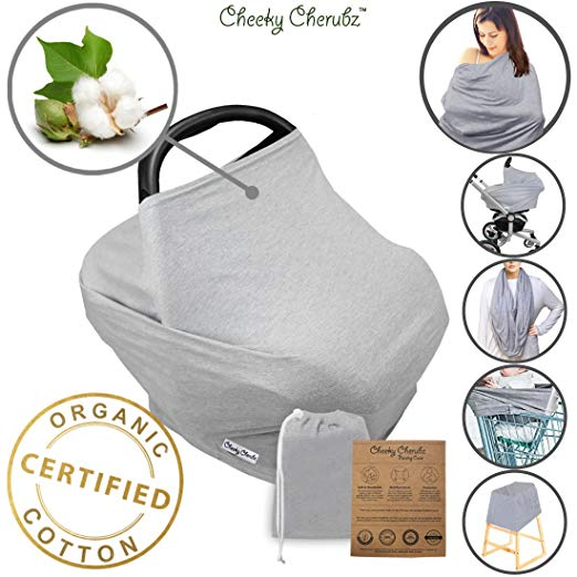 ☆ Organic Cotton ☆ Nursing Breastfeeding Cover Scarf, Baby Car Seat Canopy, Canopies, Shopping Cart, Stroller, Carseat Covers for Girls and Boys Best Multi-Use Infinity Stretchy Shawl Shower Gifts