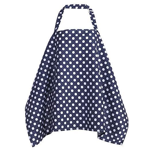 Chinatera Adjustable Nursing Cover Baby Breastfeeding Scarf Poncho Cotton Blanket Shawl (Big White Dot)