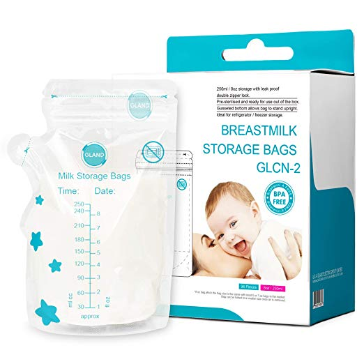 Breastmilk Storage Bags 96 Count with Pour Spout Baby Milk Freezer Safe Leak Proof BPA BPS Free Reinforced Zip Top Pre Sterilized Self Standing Storage Bag 8 oz 250 ml by USA GLAND