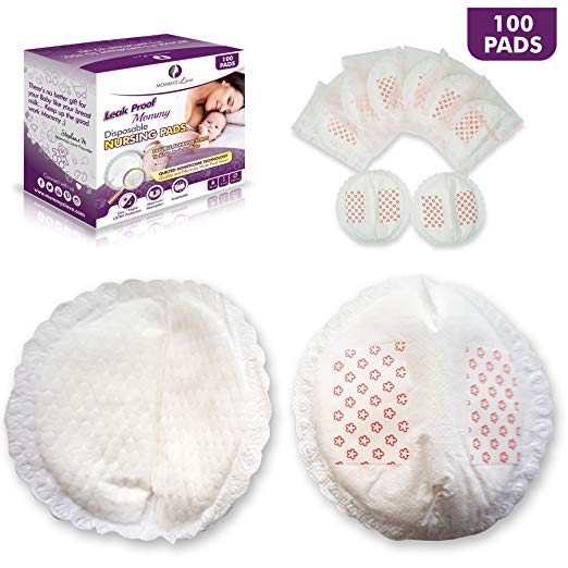 Mommyz Love 'Leak Proof Mommy' Best Disposable Nursing Pads | Super Soft, Ultra Thin, Extra Absorbent and Individually Wrapped with 5 Layers for EXTRA Day and Night Protection| 100 Count