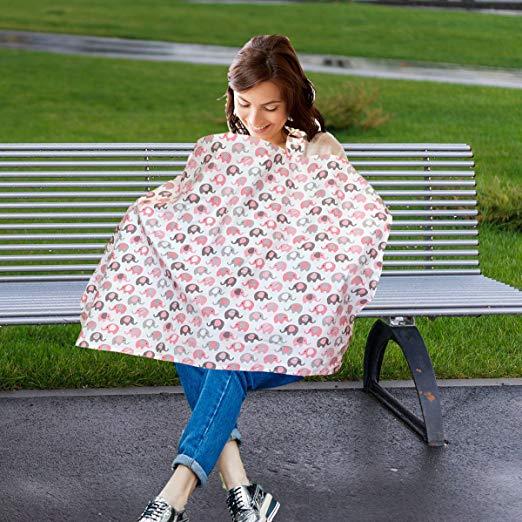 Vera Elephant 100% Breathable Cotton Nursing Cover (Petal Grey)