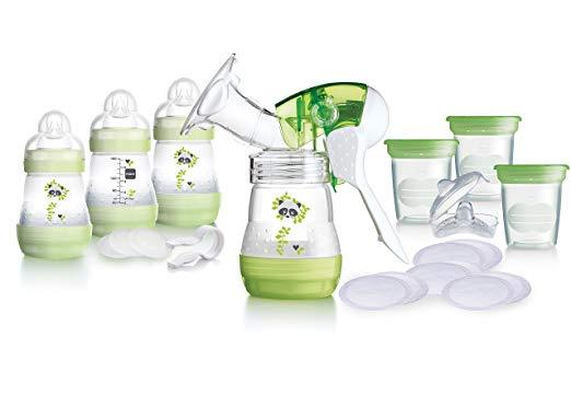 MAM Breast Feeding Starter Set including Breast pump and Anti colic self sterilising bottles (Green)