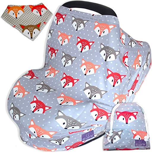 Bonne Vie Baby Carseat Canopy - Nursing Breastfeeding Cover - 5-in-1 Multi Use Infinity Scarf - 360 Boy Girl Shopping Cart & Highchair Covers - Baby Shower Gift & Registry Must Haves (Fox)