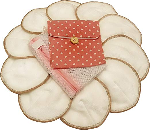 Premium Reusable Bamboo Nursing Pads by Llama Mama | Washable & Reusable Breastfeeding Pads | 10 Pads (5 Pairs) Plus Free Laundry and Carry Bag | Makes a Perfect Gift for Baby Showers and New Moms
