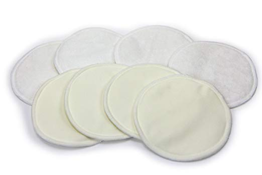 BLOWOUT SALE! Bamboo Nursing Pads (4-Pairs) – Reusable, Washable Breastfeeding Pads – Thin, Discrete, Leak Proof Coverage – Fit All Nursing Bras – Great Baby Shower Gifts for Motherhood