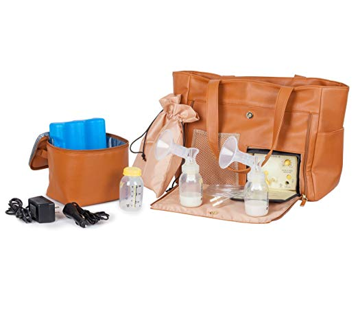 MotherlyLuv Breast Pump Tote Bag - Spacious Diaper Bag Purse with Universal Pump Compatibility and Easy-Access Closure - Includes Cooler Bag and 2 Accessory Bags - Designer Quality