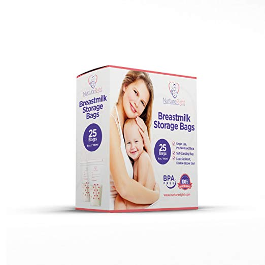 25 Breastmilk Storage Bags - 6oz / 180ml Pre-Sterilized & BPA-Free Bags, Designed for Even and Faster Thawing with Leak Proof Mechanism by Nurture Right