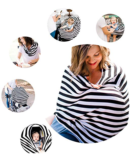 Multi Use Nursing & Carseat Cover - Breathable Fabric - Breastfeeding Baby Car Seat Canopy: Covers Up Stroller, Shopping Cart, and High Chair: Stretchy Infinity Scarf: Boys and Girls Babies Shawl