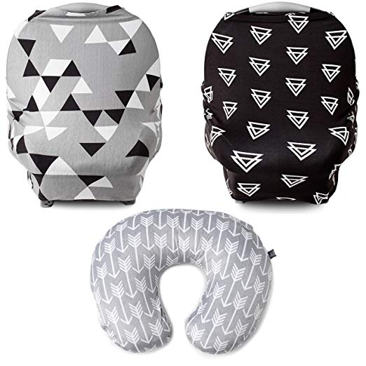 Kids N' Such 3 Pack Bundle of Geometric Multi Use Car Seat Canopy, Triangles Car Seat Canopy, and Arrow Nursing Pillow Cover | Best Baby Shower Gift for Breastfeeding Mothers of Infant Boys and Girls