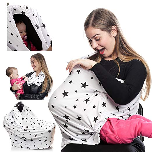 Multi Use 4 in1 Nursing Cover for Breastfeeding, Stretchy Baby Car Seat Canopy