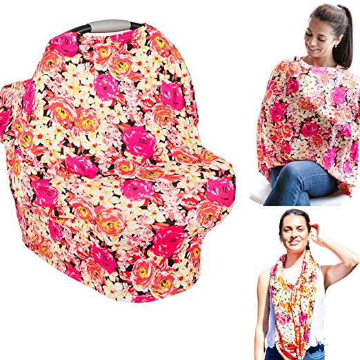 Nursing Cover & Baby Carseat Cover - Ultra Soft and Breathable - Large Full Coverage Breastfeeding Canopy Gives 100% Privacy - Beautiful Infinity Scarf (Pink Vibrant Floral)
