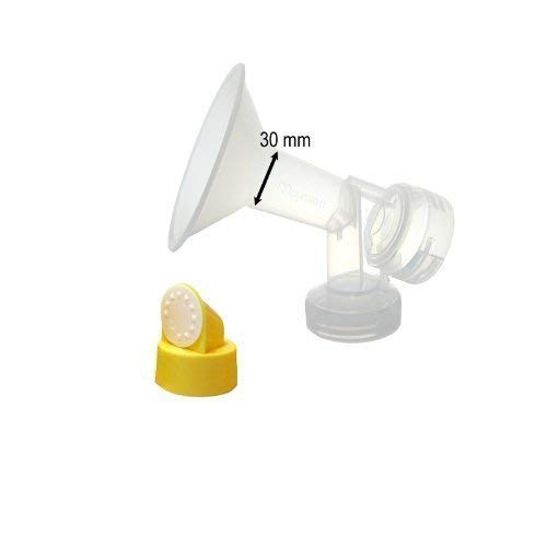 30 mm One-Piece Extra Large Breastshield w/ Valve and Membrane for Medela Breast Pumps; Compare to Medela 30 mm (X-Large) Personal Fit Breast Shield and PerosnalFit Connector; Made by Maymom
