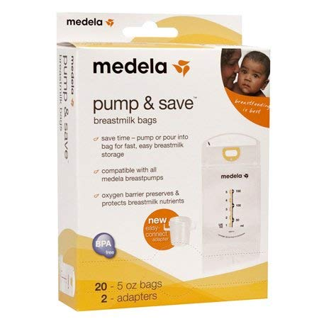 Medela Pump & Save Breastmilk Bags 50 count - 5oz/150ml bags - 2 adapters(Quantity of 3)