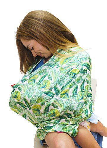 Aqqo Love Full Coverage Nursing Cover and Infant Car Seat Canopy with Pack-Away Pocket - Bon Appetit - White, Green, Tropical - Baby Shower Gift for Boys and Girls - Multi Use Soft & Stretchy Covers