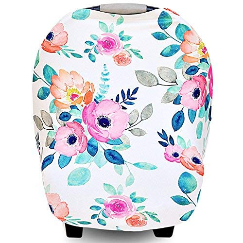 Little Pigeon Carseat Canopy Cover Nursing Breastfeeding Cover Scarf Stretchy Soft Fits Baby Car Seat Carrier Shopping Cart Infant Stroller Multi Use Floral Pink Gift for Baby Girl
