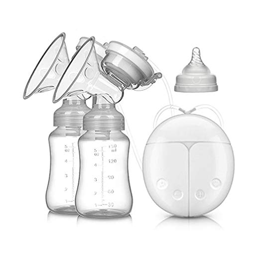 Electric Intelligent Breast Pump, BPA-Free USB Dual Breast Pump Safety Comfortable and Lightweight Automatic Massage Postpartum Breast Pump, 150ml Milk Storage Bottle with Lid and Nipple