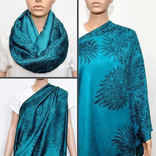 Nursing Cover - Nursing Scarf - Nursing Infinity Scarf (Floral Turquoise)