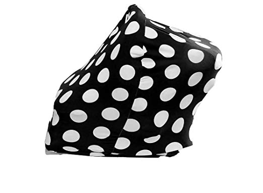 HeyBabe's Soft Breastfeeding Infant Carseat Canopy Cover - Nursing Covers for Baby Girl and Boy Newborn - Use for Car Seat, Scarf, Stroller & More. Designed to Stimulate Babies Brain Growth