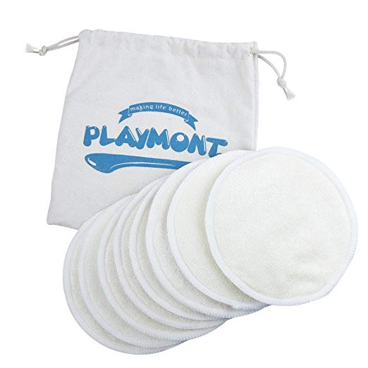 Nursing Pads Washable and Reusable Breast Breastfeeding Bra Pads by Playmont (8PCs, 4 Pair)