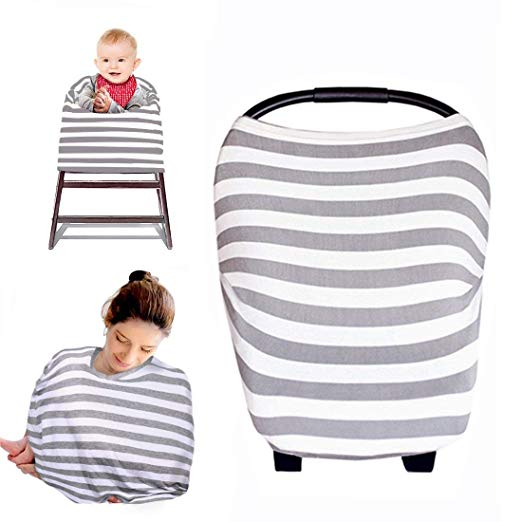 Baby Nursing Breastfeeding Cover Multi-Use Flexible Unisex Super Soft Cotton Baby Shower Gift (Gray and White)