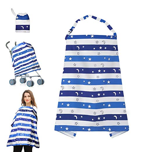 Kyapoo Nursing Breastfeeding Cover Lightweight Breathable 100% Cotton Nursing Apron for Breastfeeding Rigid Neckline Full Coverage and Adjustable Strap Blue