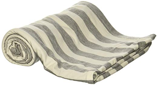 Itzy Ritzy Nursing Happens Infinity Breastfeeding Scarf, Heather Gray and White Stripe