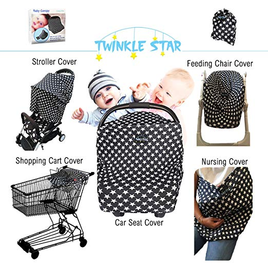 Final Sale! Premium Product Special Price Multi Use Nursing Star Design Cover For Your Baby Elegant Baby Car Seat Cover Stroller Breastfeeding Stretchy Soft Canopy Modern Fabric UnisexInfantShowerGift
