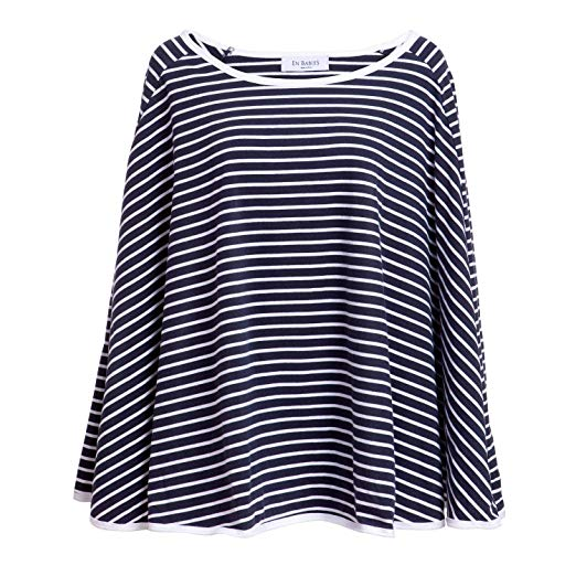 SALE! 360° FULL COVERAGE Nursing Cover for Breastfeeding - Luxurious, Soft Breathable Cotton in Poncho Style (Navy Stripe)