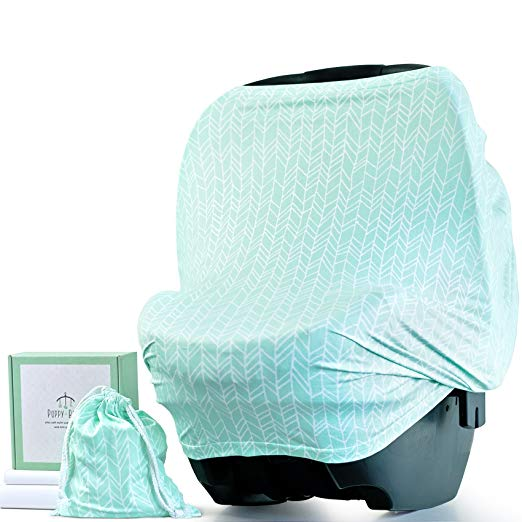 Baby Car Seat Cover & Multi-Use Covers for Nursing, Breastfeeding, Stretchy Canopy, Highchairs, Strollers for Girls & Boys (Herringbone) - Includes Mini Pouch