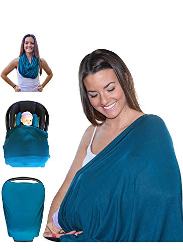 Mom & Bebe Multi-use Nursing Cover / Scarf / Baby Car Seat Cover with Baby Bib, Dark Green, XL - 28 x 67 -inches