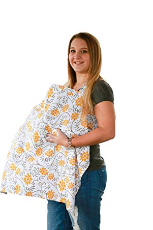 Premium Quality Nursing Breastfeeding cover with pockets | FREE Bonus Matching Pouch | 100% cotton | Extra wide