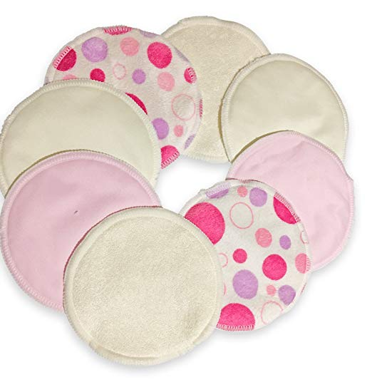 Nursing Pads -Reusable-Made from Organic Bamboo-8 Pads (4 Pairs) Washable-BreastPads-Super-Soft On Skin-Clean And Pure.