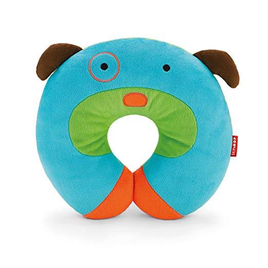 Skip Hop Zoo Little Kid and Toddler Travel Neck Rest, Soft Plush Velour, Multi Darby Dog